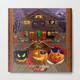 Halloween Pumpkin Masquerade Metal Print
