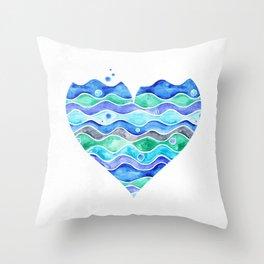 A Sea of Love (white) Throw Pillow