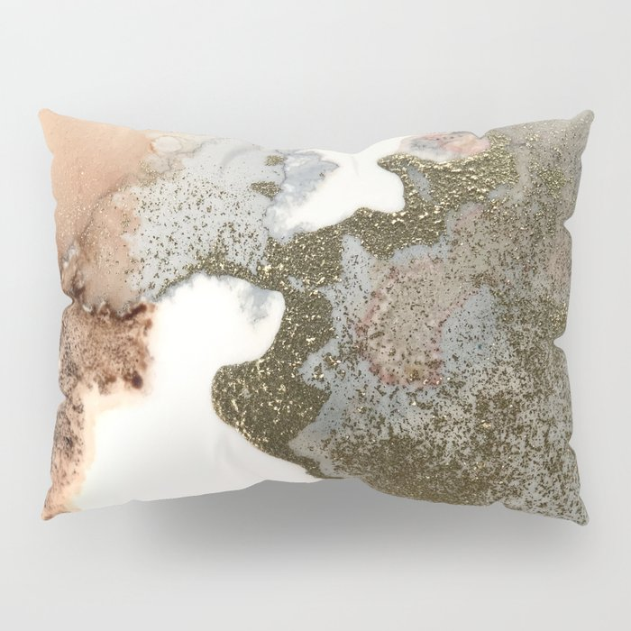 Abstract ink painting of black, pink and gold Pillow Sham