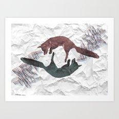 Envious foxes Art Print