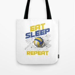 Eat Sleep Volleyball Repeat Team Ball Game Spiking Action Sports Gift Tote Bag