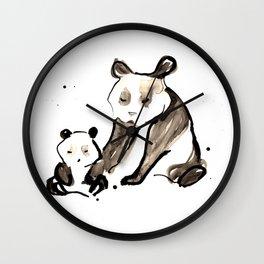 Mother and Baby Black Ink Panda Bears Illustration Wall Clock