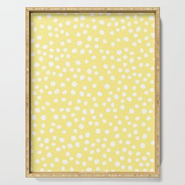 Pastel yellow and white doodle dots Serving Tray