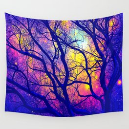 Black Trees Deep Bright & Colorful Space Wall Tapestry