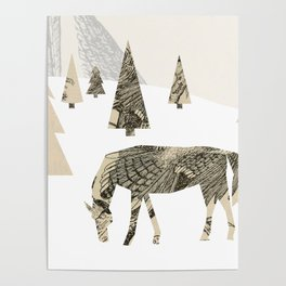Winter Woods with Horse Poster