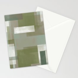 Modern Abstract No. 2 | Sage, Blue-Green, Taupe, White + Peacock Stationery Cards