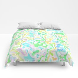 Blue, Yellow, and Green Marbled Comforters