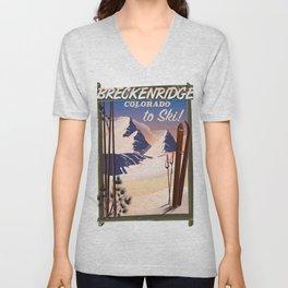Breckenridge, Colorado ski poster Unisex V-Neck