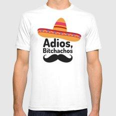 Adios Bitchachos MEDIUM White Mens Fitted Tee