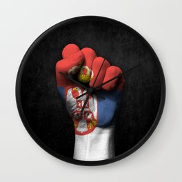 Serbian Flag on a Raised Clenched Fist Wall Clock