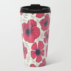 Raspberry Flowers Travel Mug