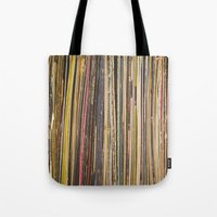 records Tote Bags featuring Records by Cassia Beck