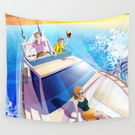 FAMILY ON YACHT Wall Tapestry