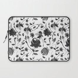 Watercolor black Flowers Laptop Sleeve