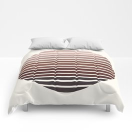 Raw Sienna Mid Century Modern Minimalist Scandinavian Colorful Stripes Geometric Pattern Round Circl Comforters