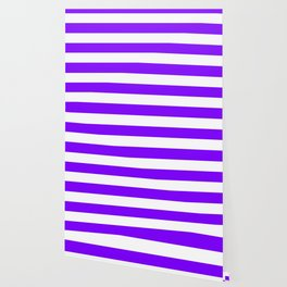 Violet (color wheel) - solid color - white stripes pattern Wallpaper