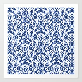 Blue and White Casbah Damask Art Print