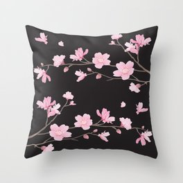 Cherry Blossom - Black Throw Pillow