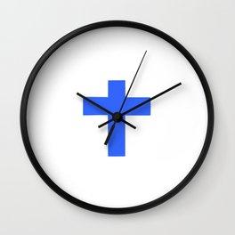 Christian Cross 9- blue Wall Clock