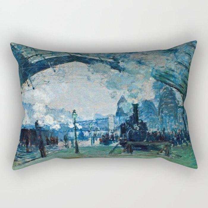 Claude Monet - Arrival Of The Normandy Train, Gare Saint Lazare Rectangular Pillow