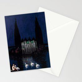 Château enchanté with woman & swans portrait by Bolesław Biegas Stationery Cards