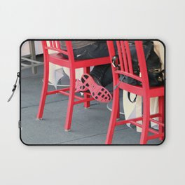Sitting Cross Legged On The Red Chair Laptop Sleeve