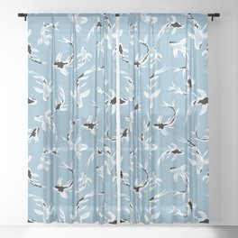 Abstract Koi Fishes / Water Blue Sheer Curtain