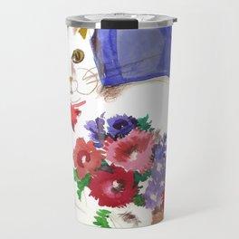 Cozy Cat and Flower Basket Travel Mug
