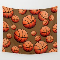 basketball Wall Tapestries featuring Basketball by joanfriends