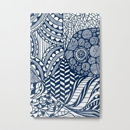 Boho World - Paper Cut Geometry Blue Metal Print