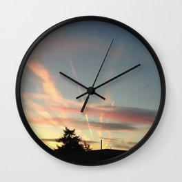 Sunset Under the Jetstreams Wall Clock