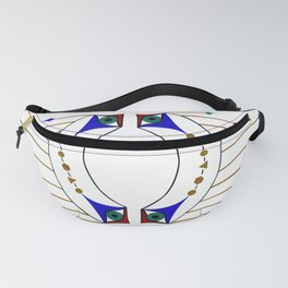 Blue Eye with Hanging Gold Geometric Shapes Fanny Pack
