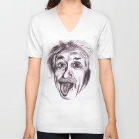 einstein V-neck T-shirts featuring Einstein by Alicia Evans