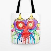majoras mask Tote Bags featuring Majoras Mask Splatter by ysocrazeh