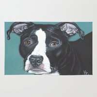 pit bull Area & Throw Rugs featuring Pedro the handsome Pit Bull  by heathercarey/fuzzymestudios