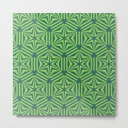 Green geometric hexagon stars op art Metal Print