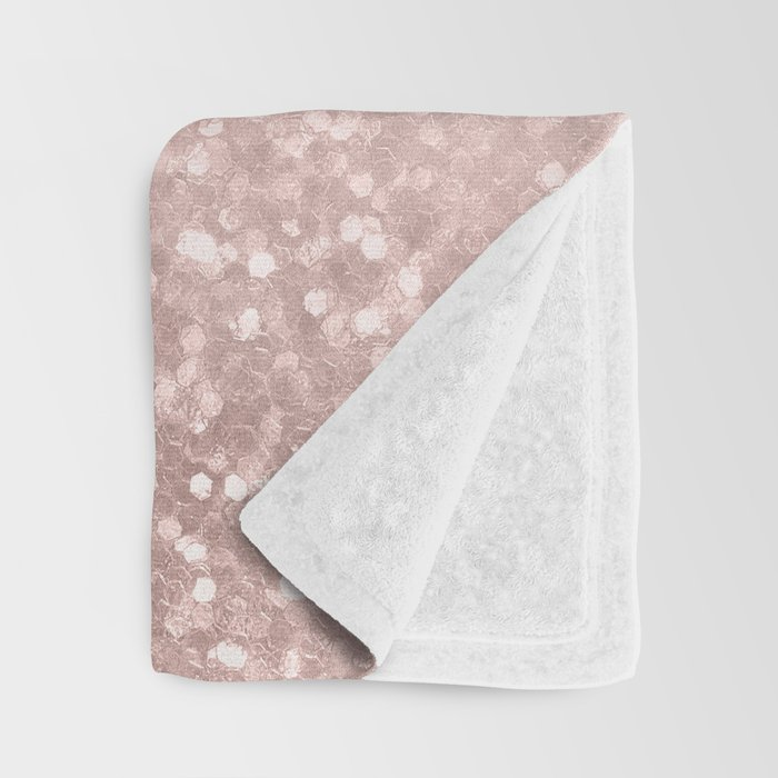 Rose Gold Sparkles on Pretty Blush Pink VI Throw Blanket