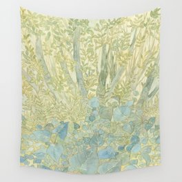 Serene Soothing Mysterious Green Forest Watercolor Painting with trees and plants Wall Tapestry