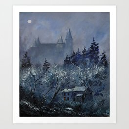 medieval castle of Veves  Art Print