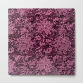 Burgundy Turquoise Velvet Floral Pattern 03 Metal Print