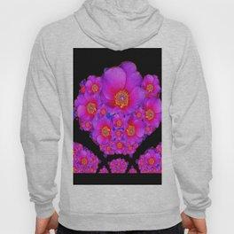 Colorful Purple-Red Fuchsia Flowers Black Modern Art Design Abstract Hoody