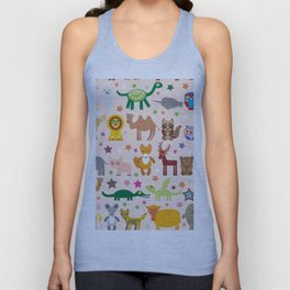 Set of funny cartoon animals character on pink seamless background. zoo. Vector Unisex Tank Top