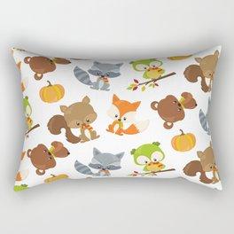 Woodland Animals, Bear, Squirrel, Fox, Owl, Raccoon Rectangular Pillow