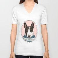 bull terrier V-neck T-shirts featuring Bull Terrier by Rhian Davie