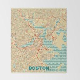 Boston Map Retro Throw Blanket