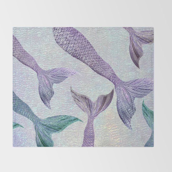 Amethyst and Teal Mermaid Tails Throw Blanket