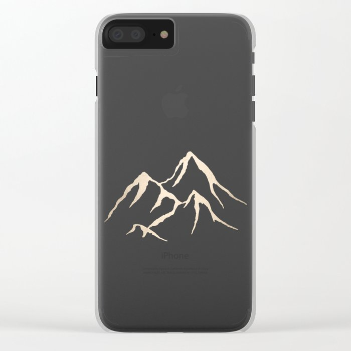 Adventure White Gold Mountains Clear iPhone Case