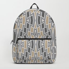 Tribal Diamond Pattern in Gray and Tan Backpack