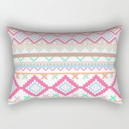 Pink teal Aztec Tribal Diamond geometric Pattern Rectangular Pillow