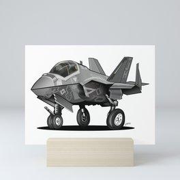 F-35C Lightning II Joint Strike Fighter Cartoon Mini Art Print